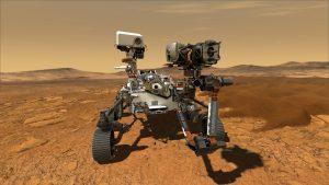 Vozítko Preservance na Marsu (umělecká představa). Grafika: NASA.