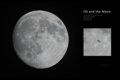 Detail přeletu Mezinárodní kosmické stanice před Měsícem 26. ledna 2021 ze Záhradného. Foto: Petr Horálek.