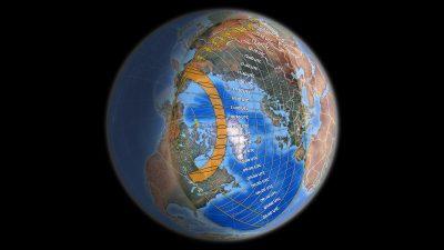 Pás prstencového zatmění Slunce 10. června 2021 a oblast viditelnosti částečného zatmění (časy uvedené v UTC – k našemu času nutné přičíst +2 hodiny). Autor: Michael Zeiler.
