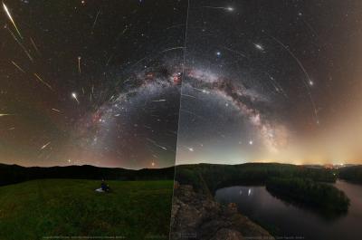 Čím dále od měst a zdrojů světelného znečištění pozorovatel bude, tím více meteorů spatří. Na obrázku je porovnání Parku Tmavé oblohy Poloniny (vlevo) a Sečské přehrady (vpravo). Poloniny leží stovky kilometrů od velkých měst, kdežto Seč pouze desítky. Lze tedy vidět, že nad Sečskou přehradou jsou podmínky horší. Foto: Tomáš Slovinský (vlevo) a Petr Horálek (vpravo).