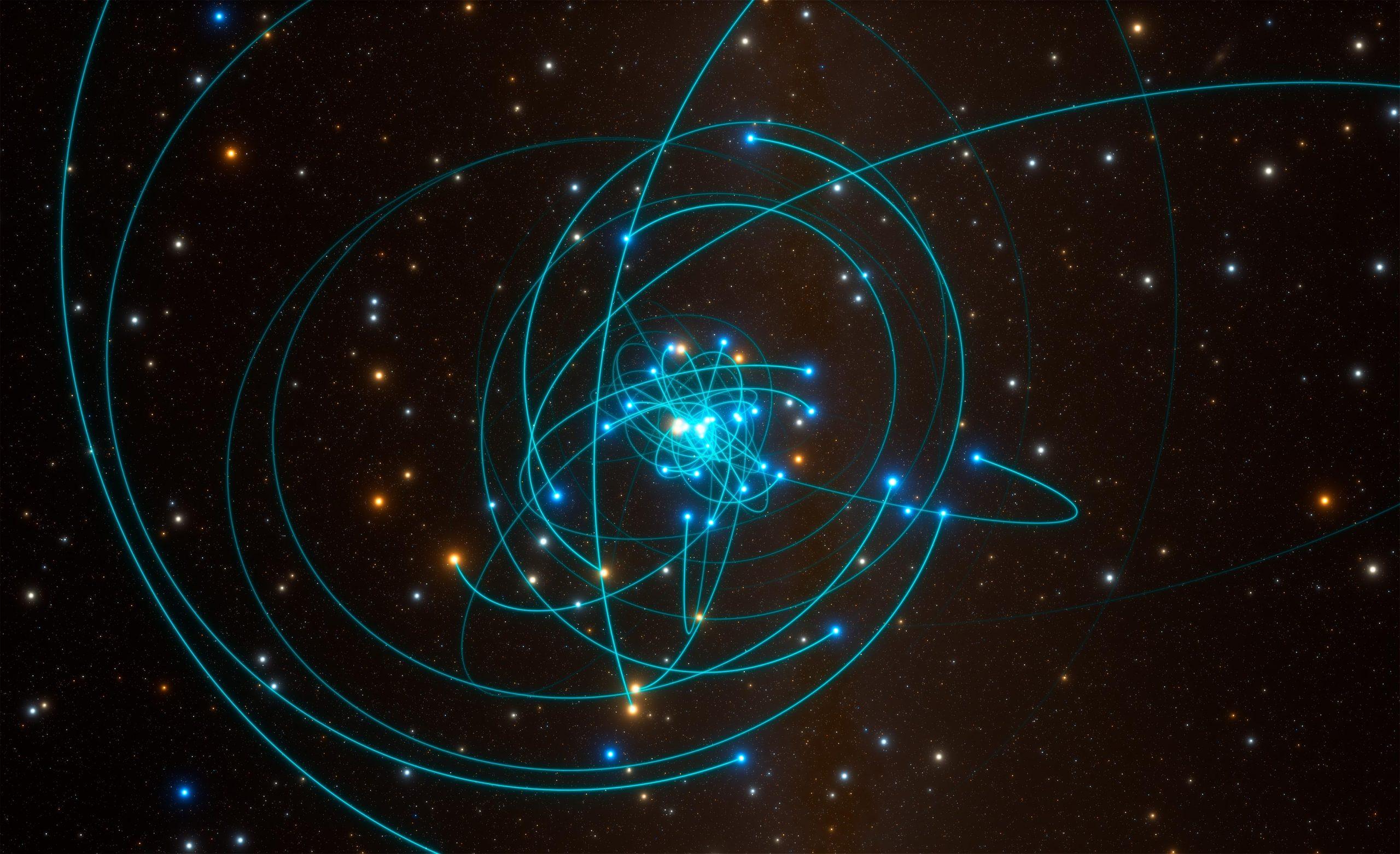 Dráhy hvězd okolo černé díry Sgr A*. Autor: ESO/L. Calçada/spaceengine.org